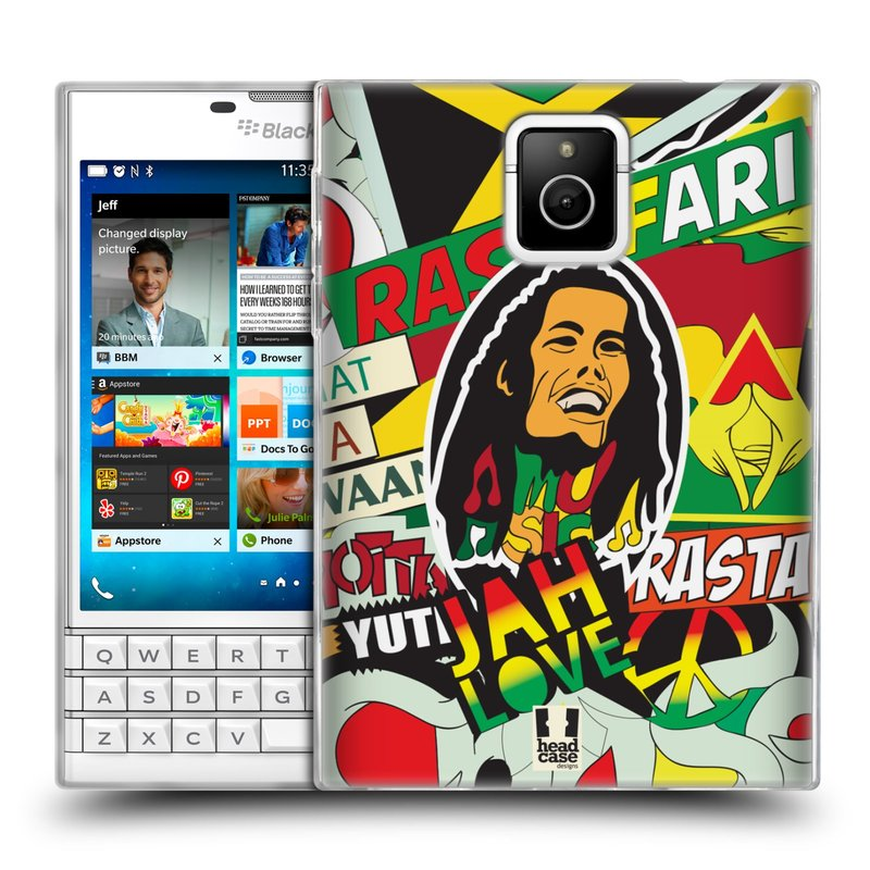 Silikonové pouzdro na mobil Blackberry PASSPORT HEAD CASE RASTA (Silikonový kryt či obal na mobilní telefon Blackberry PASSPORT)