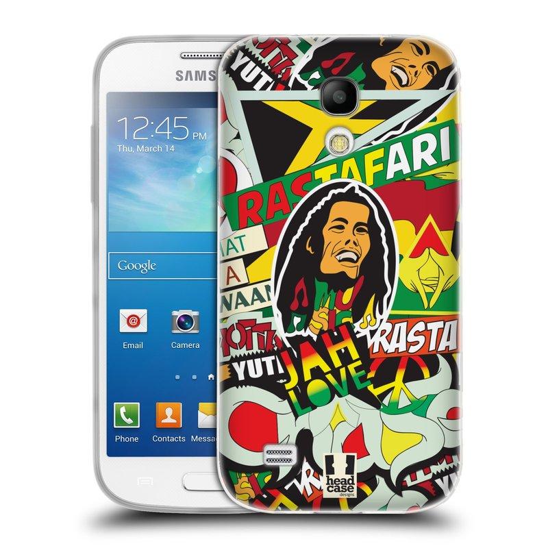 Silikonové pouzdro na mobil Samsung Galaxy S4 Mini HEAD CASE RASTA (Silikonový kryt či obal na mobilní telefon Samsung Galaxy S4 Mini GT-i9195 / i9190 (nepasuje na verzi Black Edition))