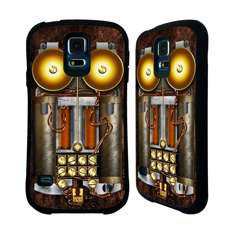 Nárazuvzdorné pouzdro na mobil Samsung Galaxy S5 HEAD CASE STEAMPUNK TELEFON (Odolný nárazuvzdorný silikonový kryt či obal na mobilní telefon Samsung Galaxy S5 SM-G900F)