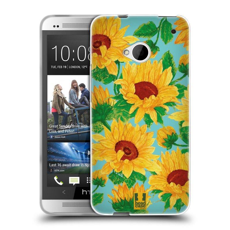 Silikonové pouzdro na mobil HTC ONE M7 HEAD CASE Slunečnice (Silikonový kryt či obal na mobilní telefon HTC ONE M7)