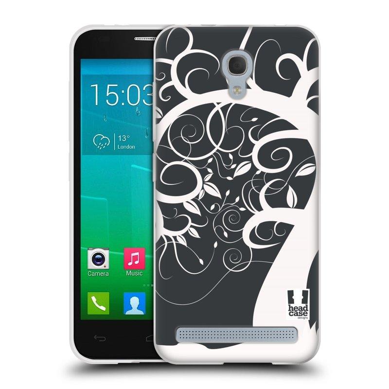 Silikonové pouzdro na mobil Alcatel One Touch Idol 2 Mini S 6036Y HEAD CASE SPLETITÝ STROM ŠEDÝ (Silikonový kryt či obal na mobilní telefon Alcatel Idol 2 Mini S OT-6036Y)