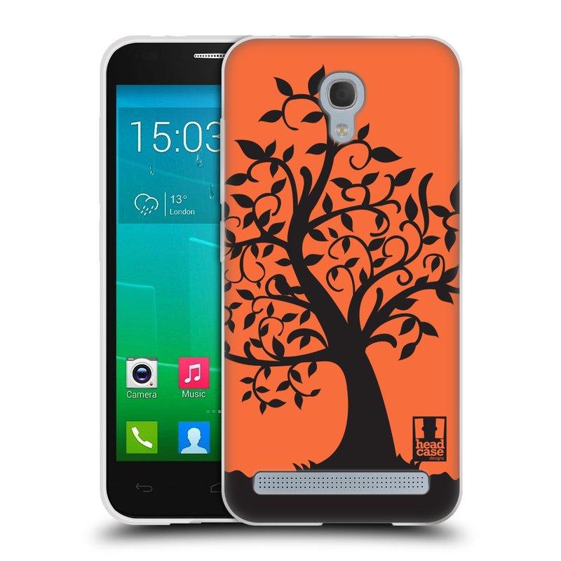 Silikonové pouzdro na mobil Alcatel One Touch Idol 2 Mini S 6036Y HEAD CASE SPLETITÝ STROM ORANŽOVÝ (Silikonový kryt či obal na mobilní telefon Alcatel Idol 2 Mini S OT-6036Y)