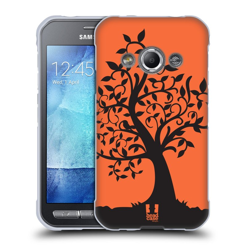 Silikonové pouzdro na mobil Samsung Galaxy Xcover 3 HEAD CASE SPLETITÝ STROM ORANŽOVÝ (Silikonový kryt či obal na mobilní telefon Samsung Galaxy Xcover 3 SM-G388F)