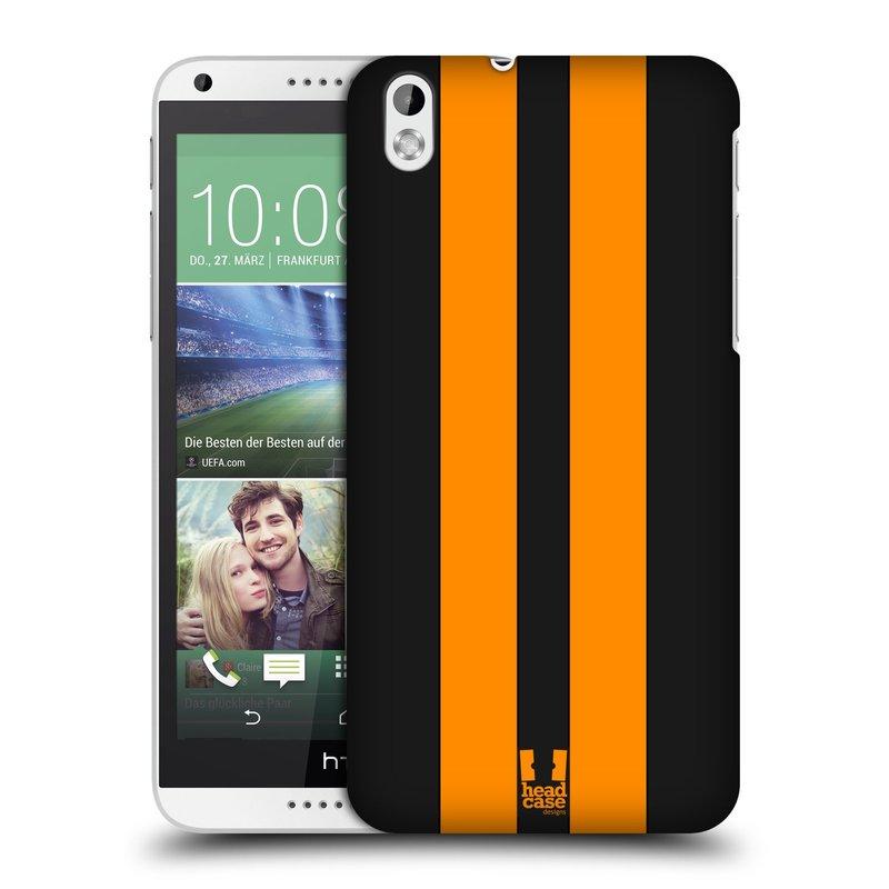 Plastové pouzdro na mobil HTC Desire 816 HEAD CASE ŽLUTÉ A ČERNÉ PRUHY (Kryt či obal na mobilní telefon HTC Desire 816)