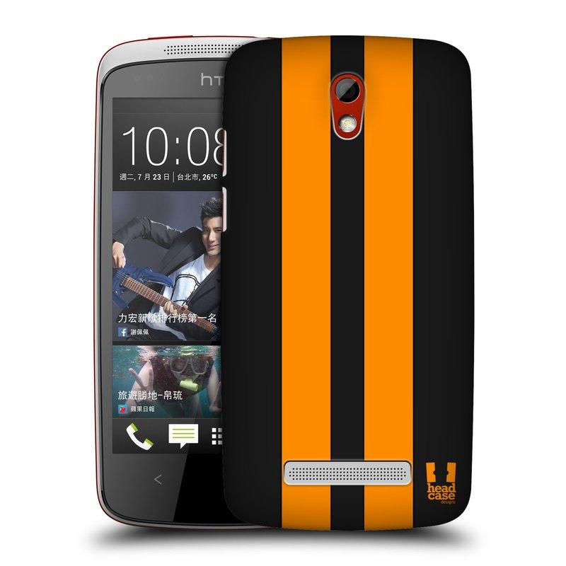 Plastové pouzdro na mobil HTC Desire 500 HEAD CASE ŽLUTÉ A ČERNÉ PRUHY (Kryt či obal na mobilní telefon HTC Desire 500)