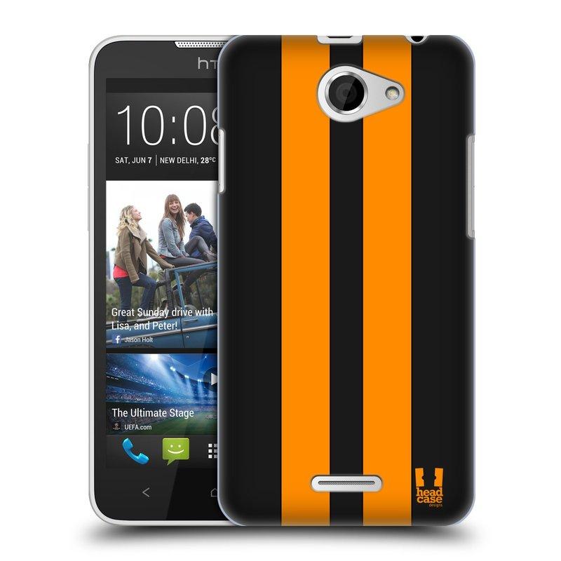Plastové pouzdro na mobil HTC Desire 516 HEAD CASE ŽLUTÉ A ČERNÉ PRUHY (Kryt či obal na mobilní telefon HTC Desire 516 Dual SIM)