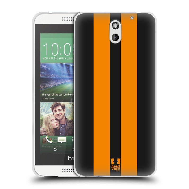 Silikonové pouzdro na mobil HTC Desire 610 HEAD CASE ŽLUTÉ A ČERNÉ PRUHY (Silikonový kryt či obal na mobilní telefon HTC Desire 610)