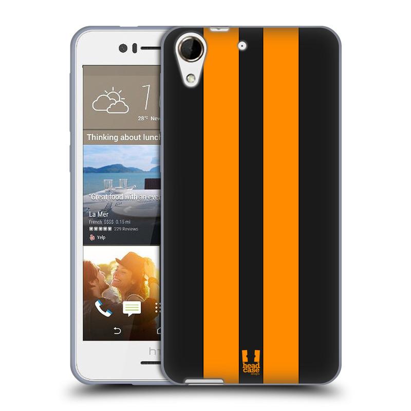 Silikonové pouzdro na mobil HTC Desire 728G Dual SIM HEAD CASE ŽLUTÉ A ČERNÉ PRUHY (Silikonový kryt či obal na mobilní telefon HTC Desire 728 G Dual SIM)