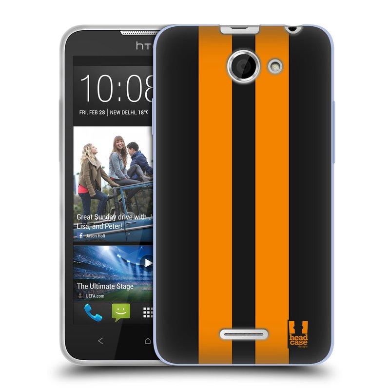Silikonové pouzdro na mobil HTC Desire 516 HEAD CASE ŽLUTÉ A ČERNÉ PRUHY (Silikonový kryt či obal na mobilní telefon HTC Desire 516 Dual SIM)