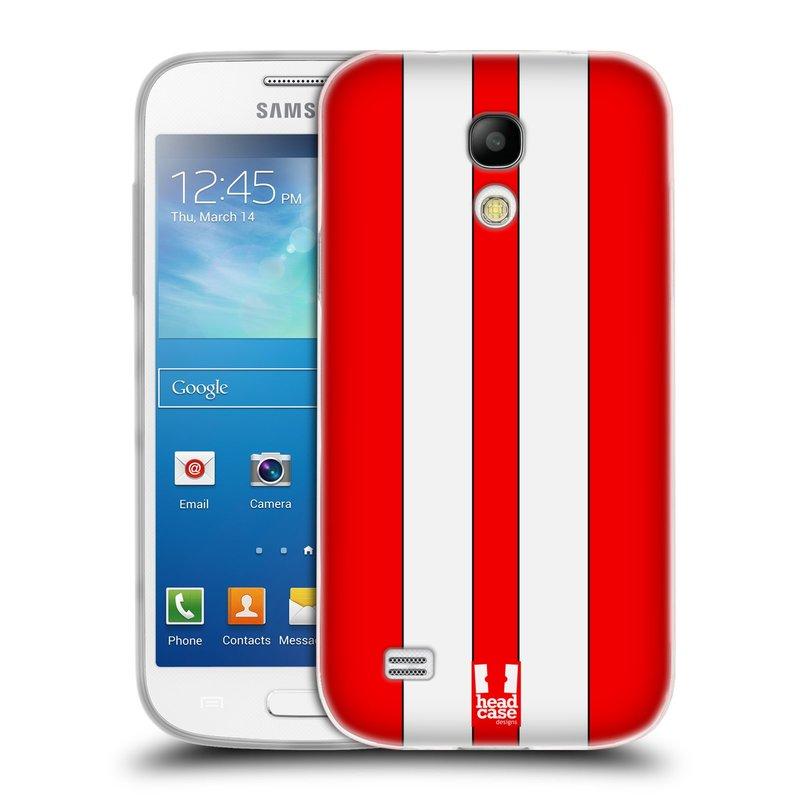 Silikonové pouzdro na mobil Samsung Galaxy S4 Mini VE HEAD CASE ČERVENÉ A BÍLÉ PRUHY (Silikonový kryt či obal na mobilní telefon Samsung Galaxy S4 Mini VE GT-i9195i (nepasuje na verzi Black Edition))