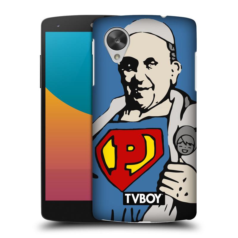 Plastové pouzdro na mobil LG Nexus 5 HEAD CASE - TVBOY - Super Papež (Kryt či obal na mobilní telefon s licencovaným motivem TVBOY pro LG Google Nexus 5 D821)