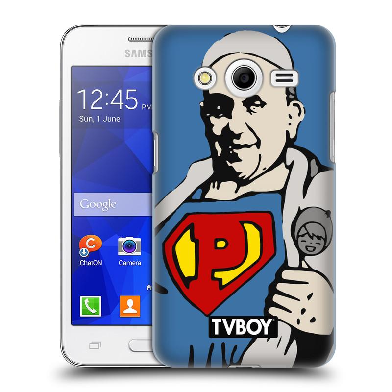 Plastové pouzdro na mobil Samsung Galaxy Core 2 HEAD CASE - TVBOY - Super Papež (Kryt či obal na mobilní telefon s licencovaným motivem TVBOY pro Samsung Galaxy Core 2 SM-G355H)