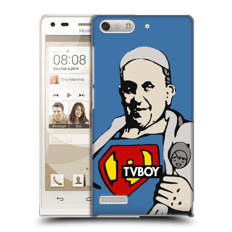 Plastové pouzdro na mobil Huawei Ascend G6 HEAD CASE - TVBOY - Super Papež (Kryt či obal na mobilní telefon s licencovaným motivem TVBOY pro Huawei Ascend G6 bez LTE)