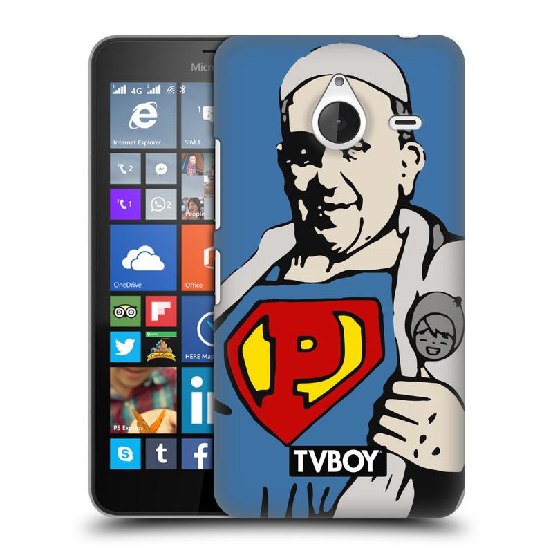Plastové pouzdro na mobil Microsoft Lumia 640 XL HEAD CASE - TVBOY - Super Papež (Kryt či obal na mobilní telefon s licencovaným motivem TVBOY pro Microsoft Lumia 640 XL)