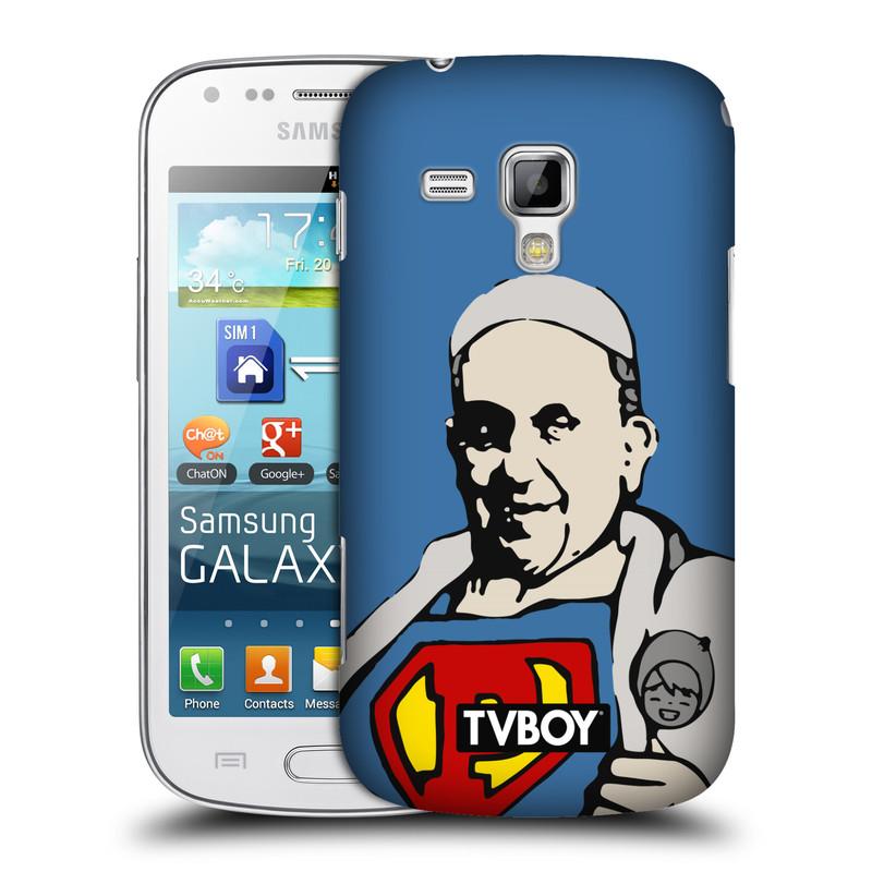Plastové pouzdro na mobil Samsung Galaxy S Duos 2 HEAD CASE - TVBOY - Super Papež (Kryt či obal na mobilní telefon s licencovaným motivem TVBOY pro Samsung Galaxy S Duos 2 GT-S7582)