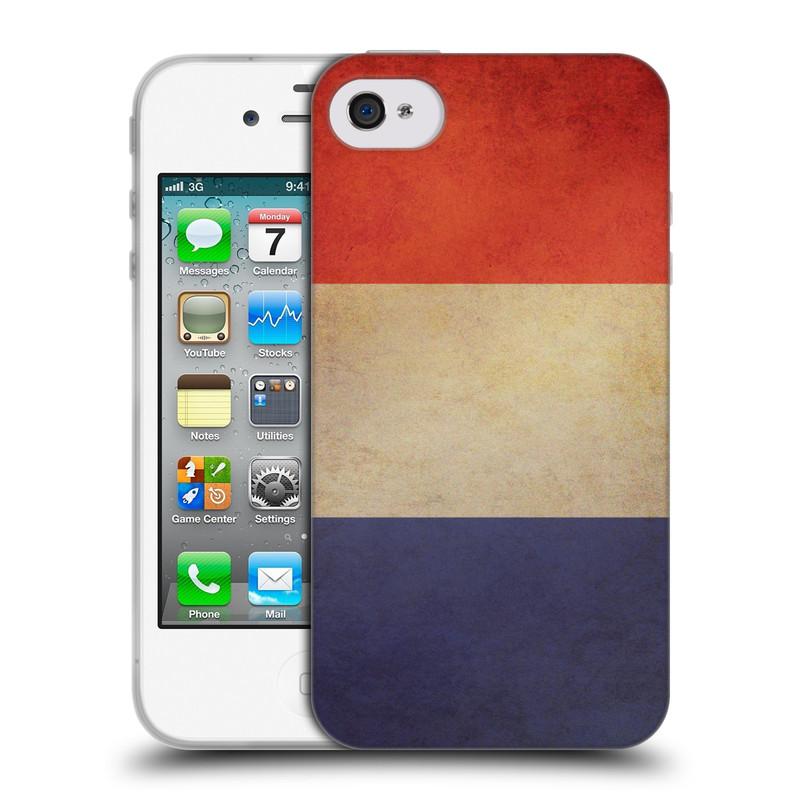 Silikonové pouzdro na mobil Apple iPhone 4 a 4S HEAD CASE VLAJKA FRANCIE (Silikonový kryt či obal na mobilní telefon Apple iPhone 4 a 4S)