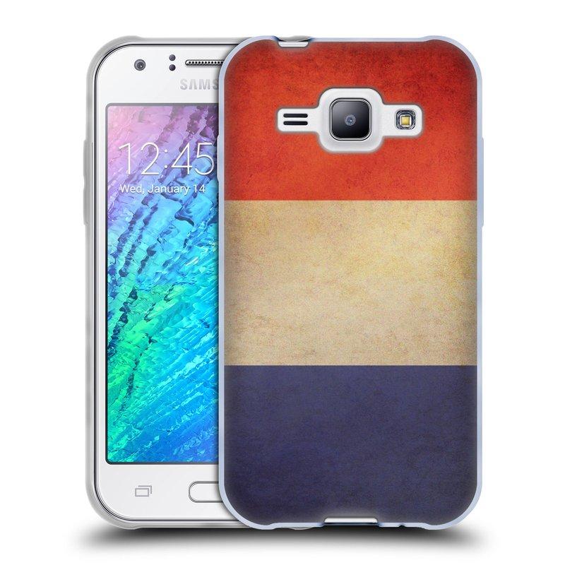 Silikonové pouzdro na mobil Samsung Galaxy J1 HEAD CASE VLAJKA FRANCIE (Silikonový kryt či obal na mobilní telefon Samsung Galaxy J1 a J1 Duos)