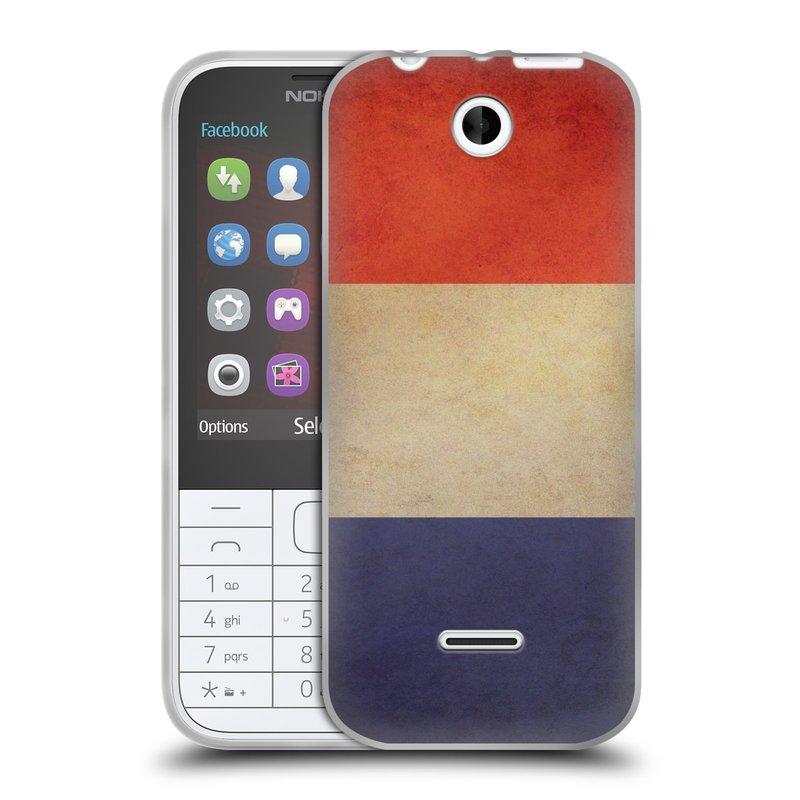 Silikonové pouzdro na mobil Nokia 225 HEAD CASE VLAJKA FRANCIE (Silikonový kryt či obal na mobilní telefon Nokia 225)