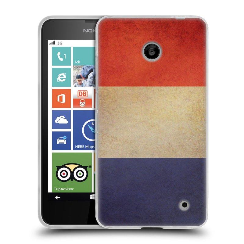 Silikonové pouzdro na mobil Nokia Lumia 630 HEAD CASE VLAJKA FRANCIE (Silikonový kryt či obal na mobilní telefon Nokia Lumia 630 a Nokia Lumia 630 Dual SIM)