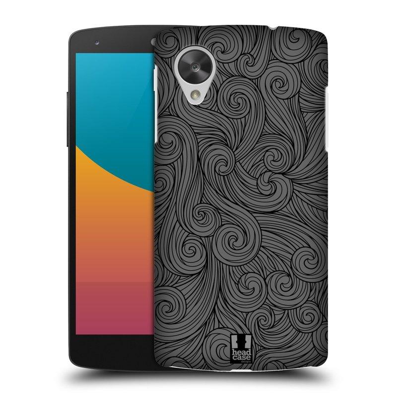 Plastové pouzdro na mobil LG Nexus 5 HEAD CASE Dark Grey Swirls (Kryt či obal na mobilní telefon LG Google Nexus 5 D821)