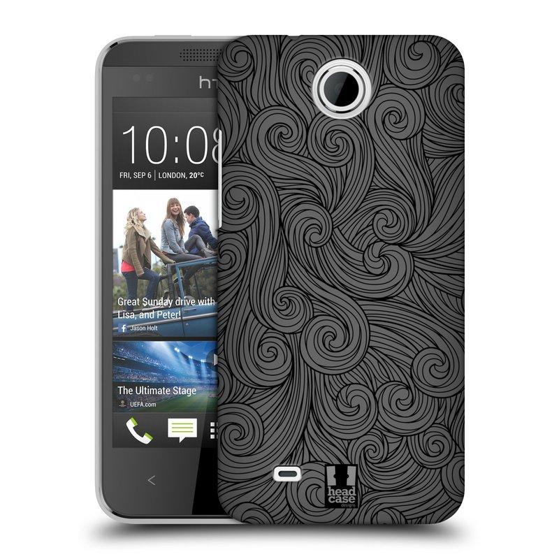 Plastové pouzdro na mobil HTC Desire 300 HEAD CASE Dark Grey Swirls (Kryt či obal na mobilní telefon HTC Desire 300)