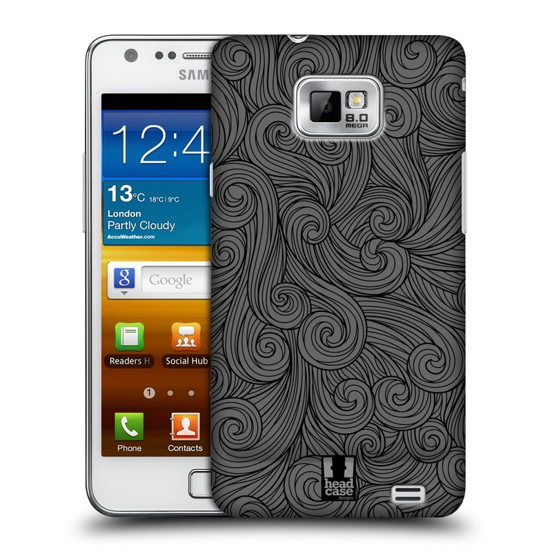 Plastové pouzdro na mobil Samsung Galaxy S II HEAD CASE Dark Grey Swirls (Kryt či obal na mobilní telefon Samsung Galaxy S II GT-i9100)