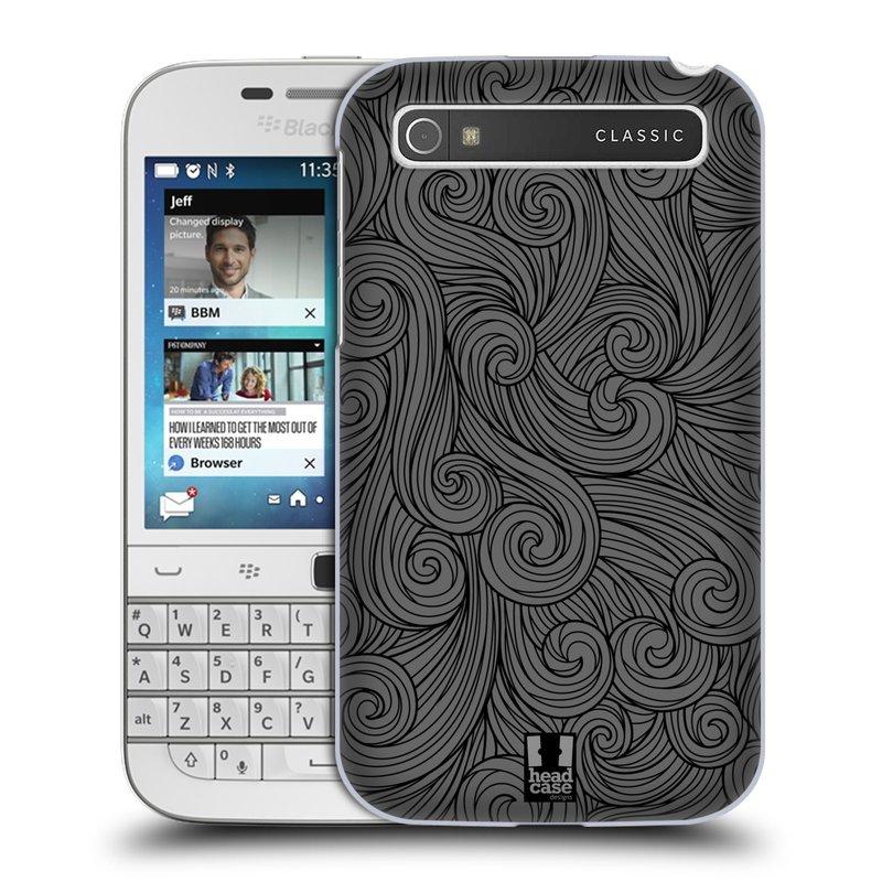 Plastové pouzdro na mobil Blackberry Classic HEAD CASE Dark Grey Swirls (Kryt či obal na mobilní telefon Blackberry Classic)