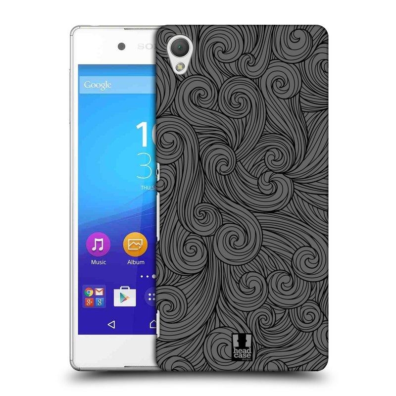 Plastové pouzdro na mobil Sony Xperia Z3+ (Plus) HEAD CASE Dark Grey Swirls (Kryt či obal na mobilní telefon Sony Xperia Z3+ a Sony Xperia Z4 )