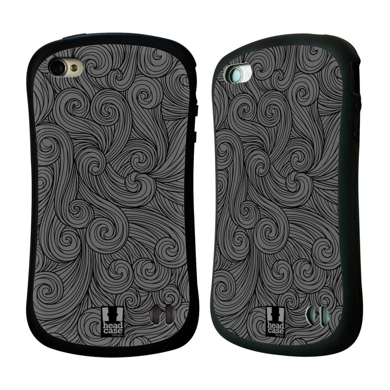 Nárazuvzdorné pouzdro na mobil Apple iPhone 4 a 4S HEAD CASE Dark Grey Swirls (Odolný nárazuvzdorný silikonový kryt či obal na mobilní telefon Apple iPhone 4 a 4S)