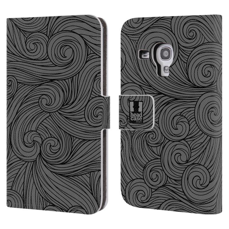 Flipové pouzdro na mobil Samsung Galaxy S III Mini HEAD CASE Dark Grey Swirls (Flipový vyklápěcí kryt či obal z umělé kůže na mobilní telefon Samsung Galaxy S III Mini GT-I8190)