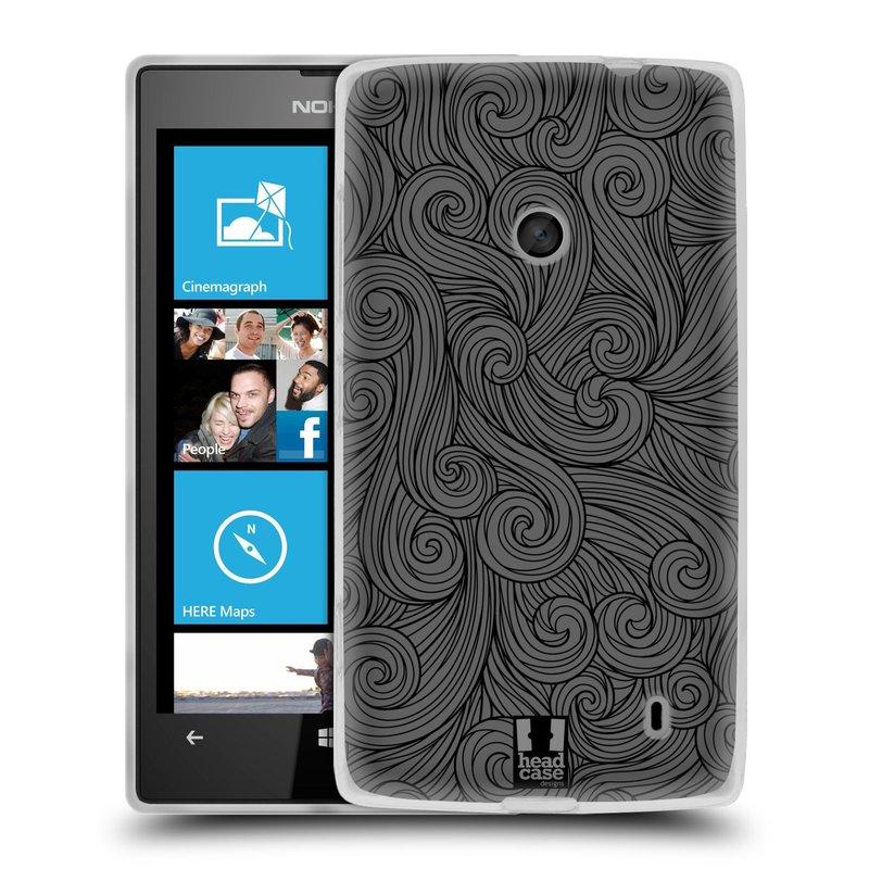 Silikonové pouzdro na mobil Nokia Lumia 520 HEAD CASE Dark Grey Swirls (Silikonový Kryt či obal na mobilní telefon Nokia Lumia 520)