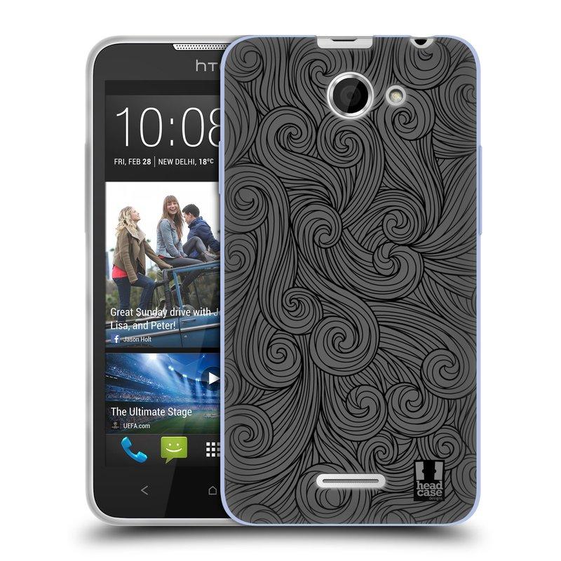 Silikonové pouzdro na mobil HTC Desire 516 HEAD CASE Dark Grey Swirls (Silikonový kryt či obal na mobilní telefon HTC Desire 516 Dual SIM)
