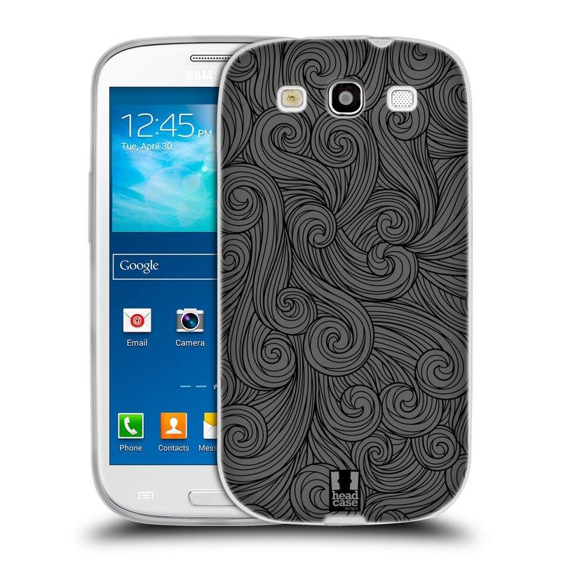Silikonové pouzdro na mobil Samsung Galaxy S3 Neo HEAD CASE Dark Grey Swirls (Silikonový kryt či obal na mobilní telefon Samsung Galaxy S3 Neo GT-i9301i)