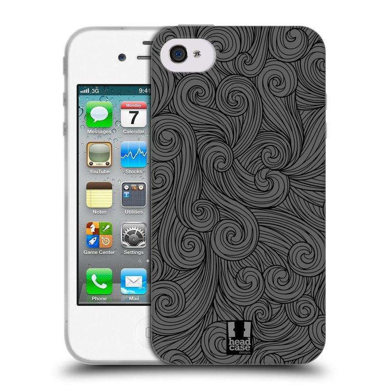 Silikonové pouzdro na mobil Apple iPhone 4 a 4S HEAD CASE Dark Grey Swirls (Silikonový kryt či obal na mobilní telefon Apple iPhone 4 a 4S)