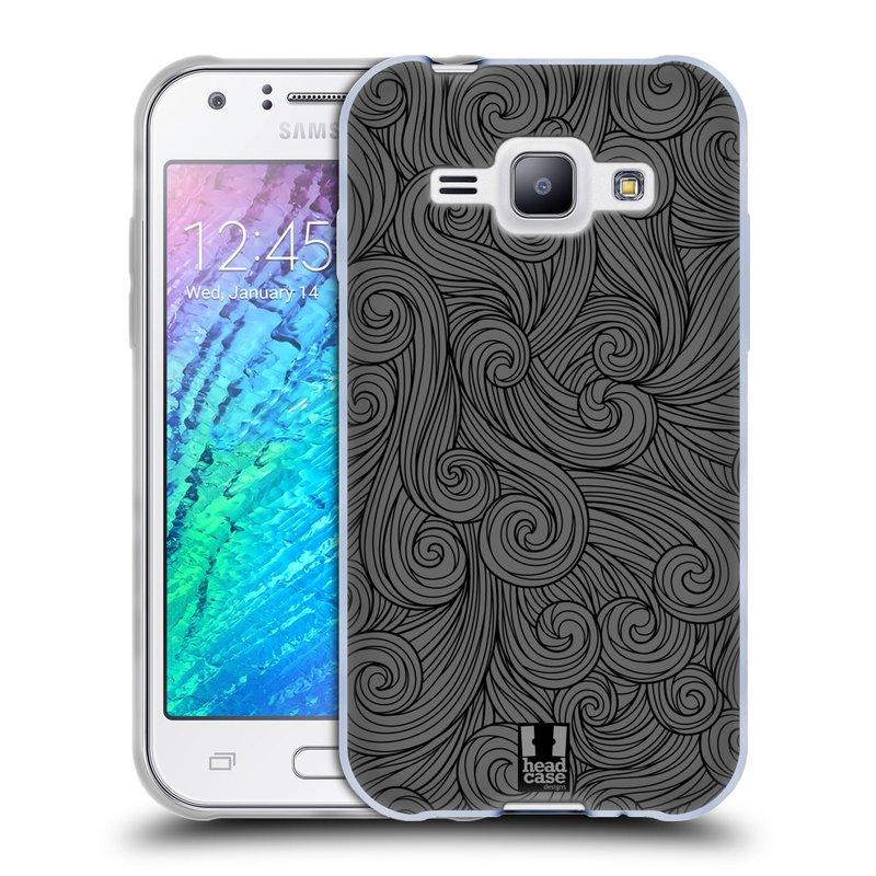 Silikonové pouzdro na mobil Samsung Galaxy J1 HEAD CASE Dark Grey Swirls (Silikonový kryt či obal na mobilní telefon Samsung Galaxy J1 a J1 Duos)