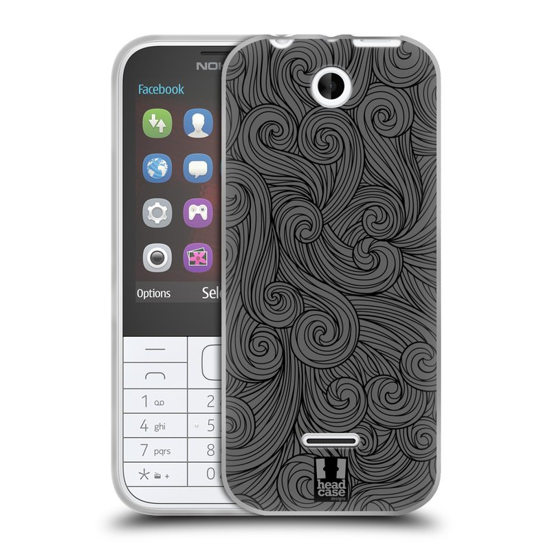 Silikonové pouzdro na mobil Nokia 225 HEAD CASE Dark Grey Swirls (Silikonový kryt či obal na mobilní telefon Nokia 225)