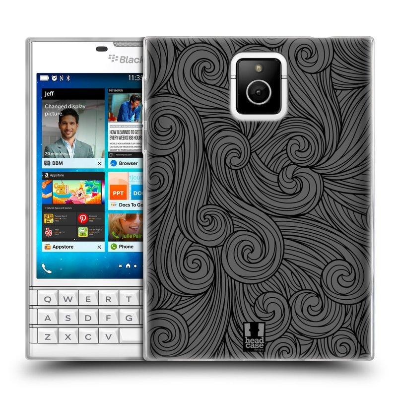 Silikonové pouzdro na mobil Blackberry PASSPORT HEAD CASE Dark Grey Swirls (Silikonový kryt či obal na mobilní telefon Blackberry PASSPORT)