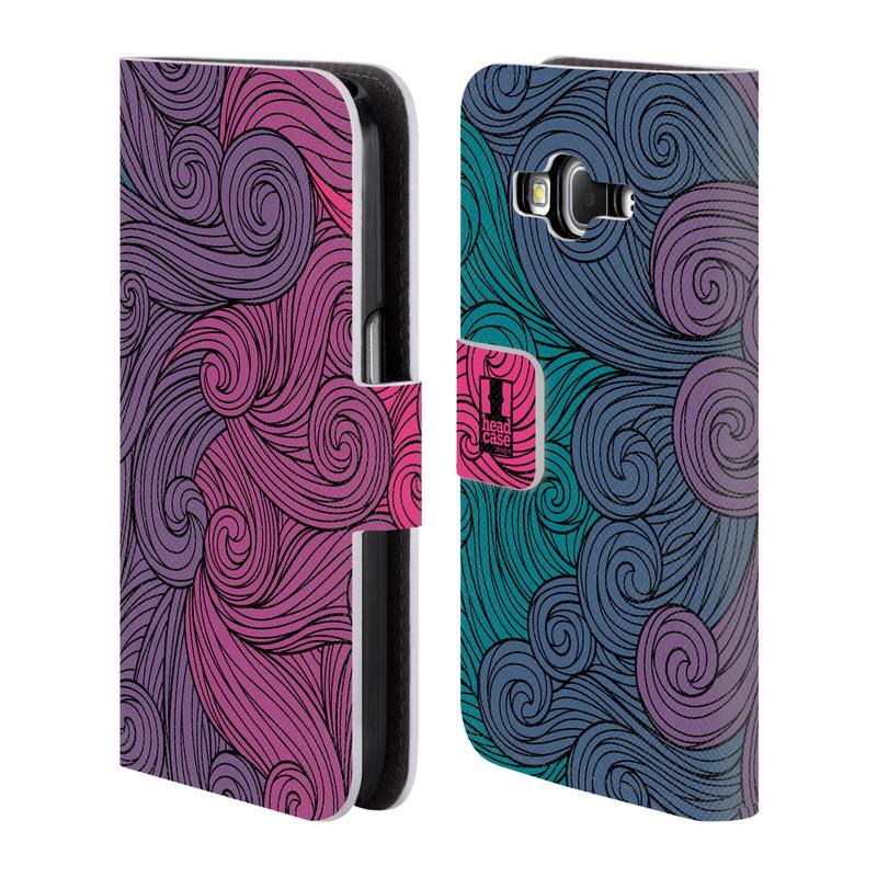 Flipové pouzdro na mobil Samsung Galaxy Core Prime LTE HEAD CASE Swirls Hot Pink (Flipový vyklápěcí kryt či obal z umělé kůže na mobilní telefon Samsung Galaxy Core Prime LTE SM-G360)