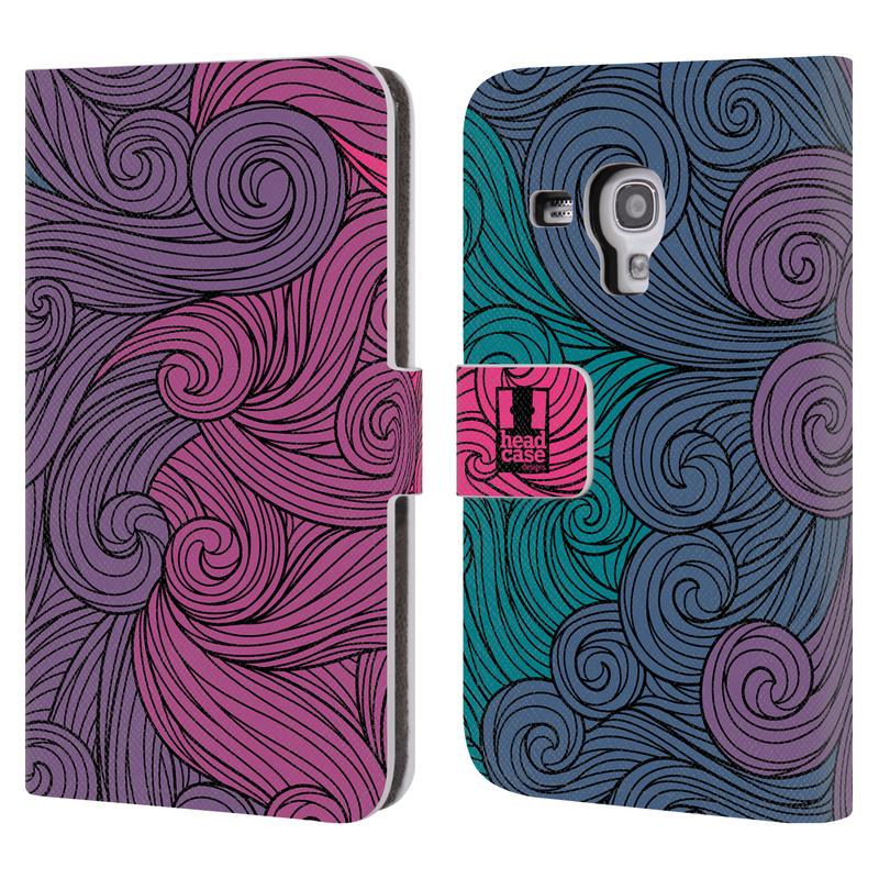 Flipové pouzdro na mobil Samsung Galaxy S III Mini HEAD CASE Swirls Hot Pink (Flipový vyklápěcí kryt či obal z umělé kůže na mobilní telefon Samsung Galaxy S III Mini GT-I8190)
