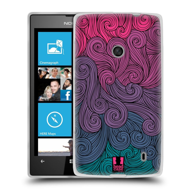 Silikonové pouzdro na mobil Nokia Lumia 520 HEAD CASE Swirls Hot Pink (Silikonový Kryt či obal na mobilní telefon Nokia Lumia 520)