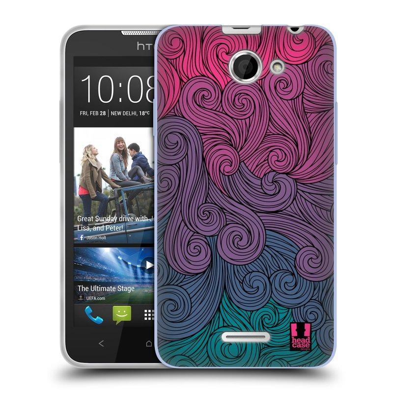 Silikonové pouzdro na mobil HTC Desire 516 HEAD CASE Swirls Hot Pink (Silikonový kryt či obal na mobilní telefon HTC Desire 516 Dual SIM)