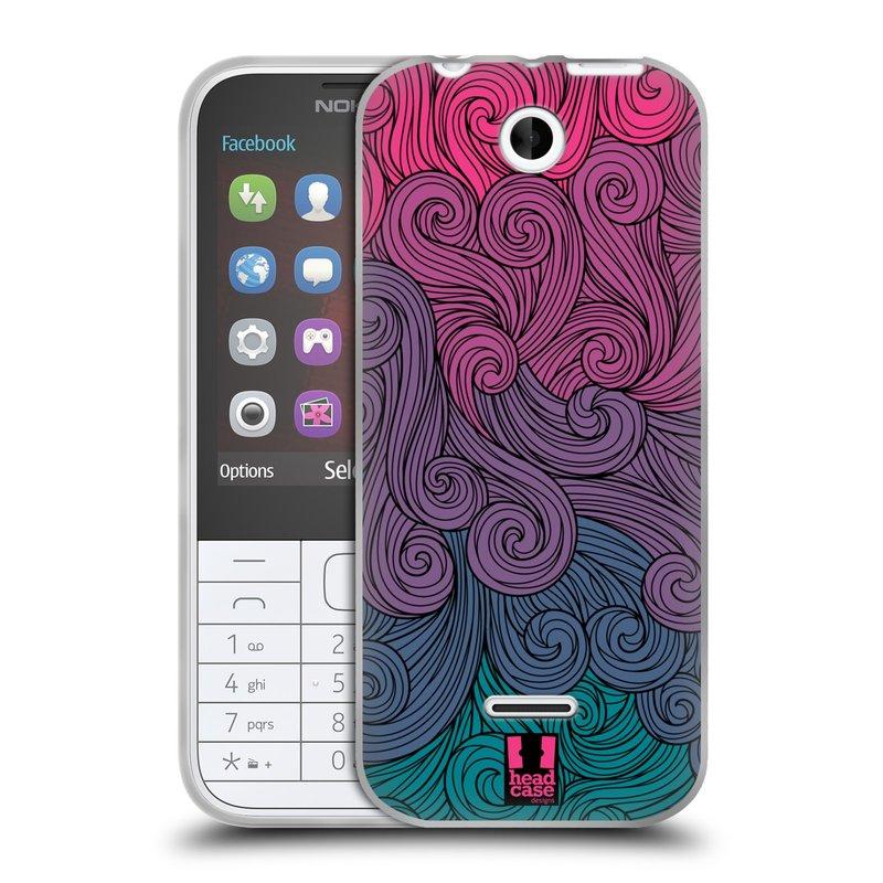 Silikonové pouzdro na mobil Nokia 225 HEAD CASE Swirls Hot Pink (Silikonový kryt či obal na mobilní telefon Nokia 225)