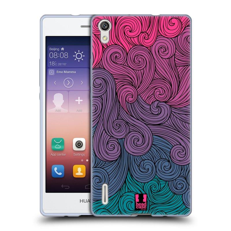 Silikonové pouzdro na mobil Huawei P7 HEAD CASE Swirls Hot Pink (Silikonový kryt či obal na mobilní telefon Huawei Ascend P7)