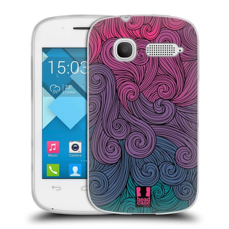 Silikonové pouzdro na mobil Alcatel One Touch Pop C1 HEAD CASE Swirls Hot Pink (Silikonový kryt či obal na mobilní telefon Alcatel OT-4015D POP C1)