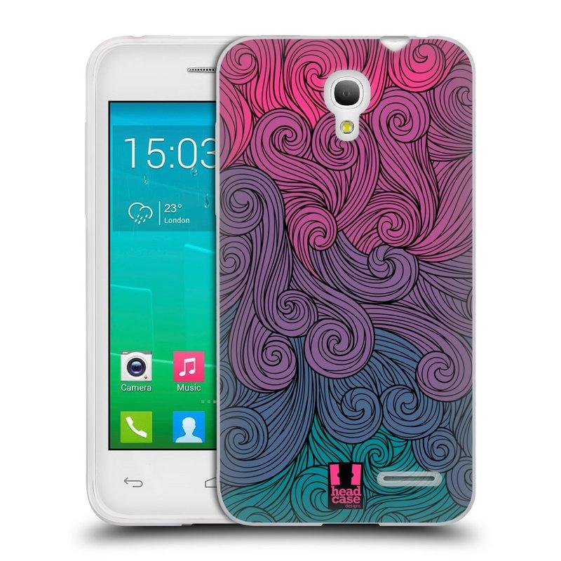 Silikonové pouzdro na mobil Alcatel One Touch Pop S3 HEAD CASE Swirls Hot Pink (Silikonový kryt či obal na mobilní telefon Alcatel OT- 5050Y POP S3)