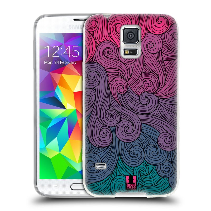 Silikonové pouzdro na mobil Samsung Galaxy S5 HEAD CASE Swirls Hot Pink (Silikonový kryt či obal na mobilní telefon Samsung Galaxy S5 SM-G900F)