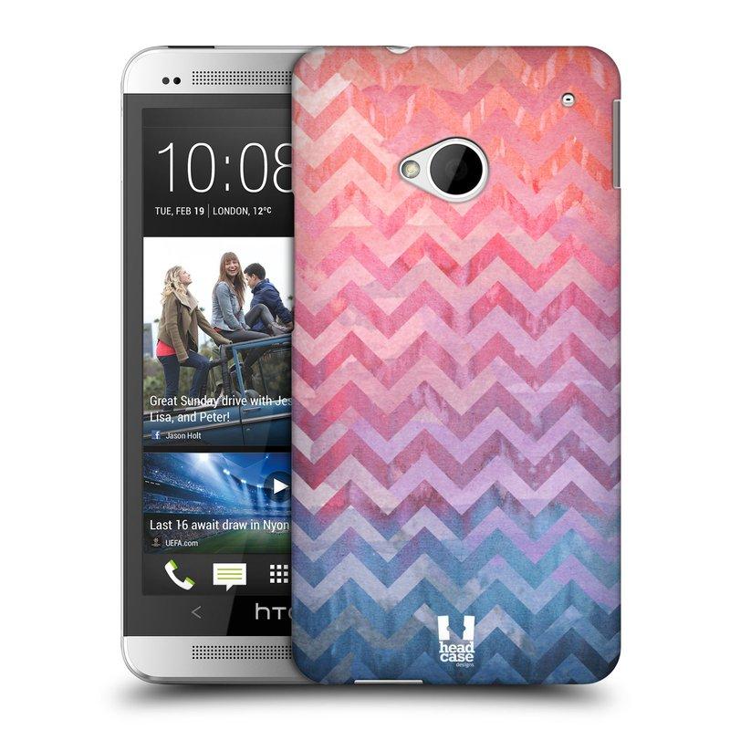 Plastové pouzdro na mobil HTC ONE M7 HEAD CASE Pink Chevron (Kryt či obal na mobilní telefon HTC ONE M7)