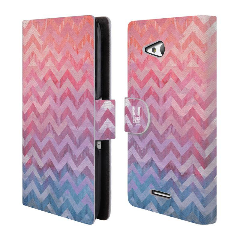 Flipové pouzdro na mobil Sony Xperia E4g HEAD CASE Pink Chevron (Flipový vyklápěcí kryt či obal z umělé kůže na mobilní telefon Sony Xperia E4G E2003)