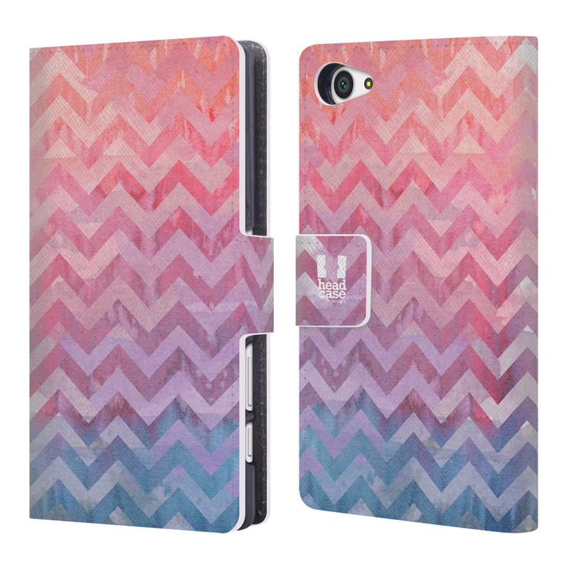 Flipové pouzdro na mobil Sony Xperia Z5 Compact HEAD CASE Pink Chevron (Flipový vyklápěcí kryt či obal z umělé kůže na mobilní telefon Sony Xperia Z5 Compact E5823)