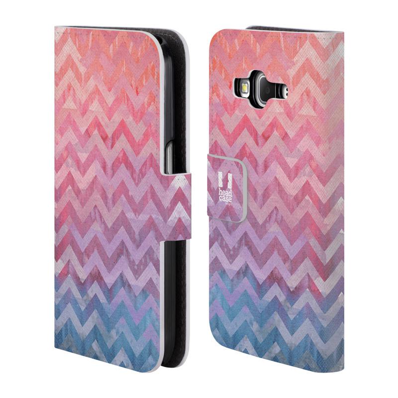 Flipové pouzdro na mobil Samsung Galaxy Core Prime LTE HEAD CASE Pink Chevron (Flipový vyklápěcí kryt či obal z umělé kůže na mobilní telefon Samsung Galaxy Core Prime LTE SM-G360)